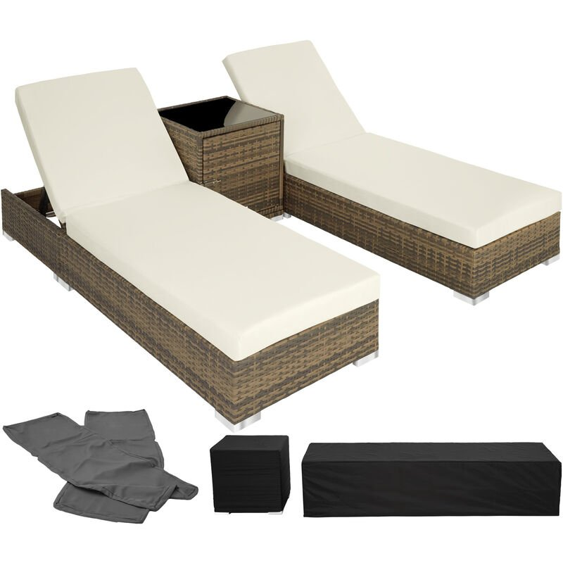 Tectake - Bain de soleil duo 5 positions avec 2 sets de housses + housse de protection - chaise longue, transat bain de soleil, transat jardin