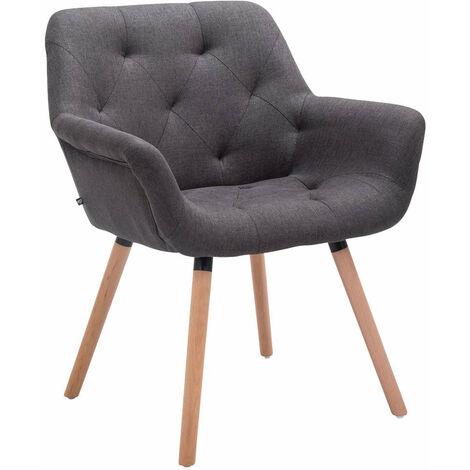 Chaise lounge visiteur salle à manger capitonné en tissu gris foncé pieds en bois