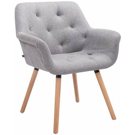 Chaise lounge visiteur salle à manger capitonné en tissu gris pieds en bois