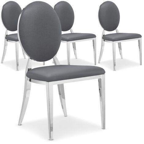 """main image of """"Lot de 4 chaises médaillon Sofia velours Noir - Noir"""""""