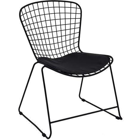 Chaise métal filaire avec galette noir - Noir