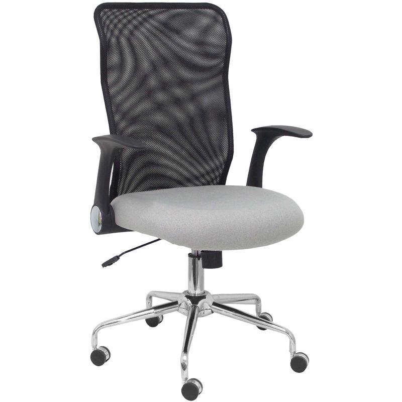 Chaise Minaya dos en filet noir, siège gris aran