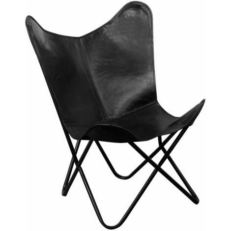 Chaise papillon Noir Cuir véritable