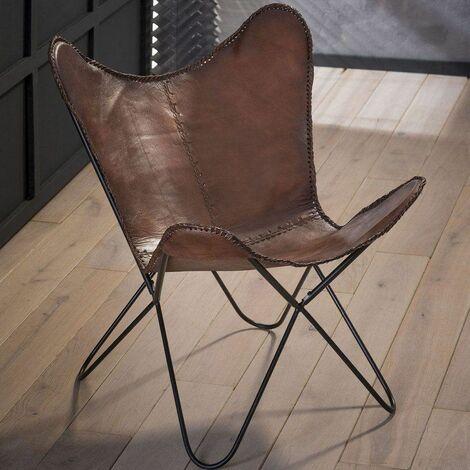 Chaise papillon vintage en cuir (lot de 2) Estelle - Marron