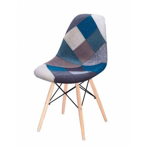 Chaise Patchwork Bleu tissu & bois de hêtre - RETRO - Bleu