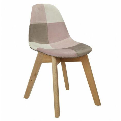 Chaise patchwork - Enfant - L 31 cm x l 36.5cm x H 56 cm - Rose - Livraison gratuite