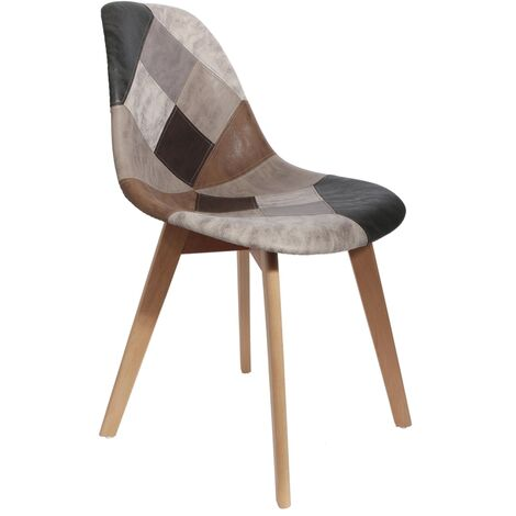 Chaise Patchwork scandinave - Multicolore