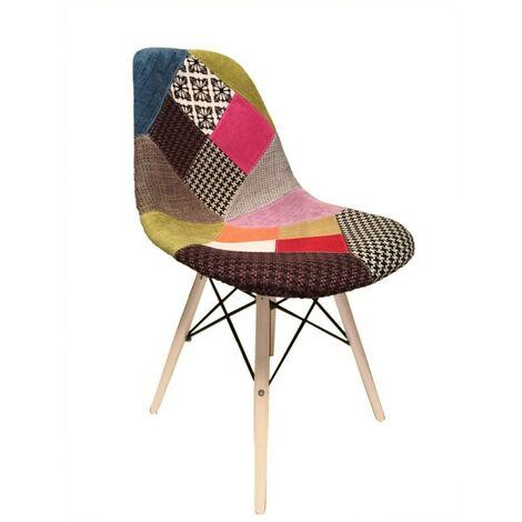 chaise Patchwork tissu & bois de hêtre - RETRO - Multicolore