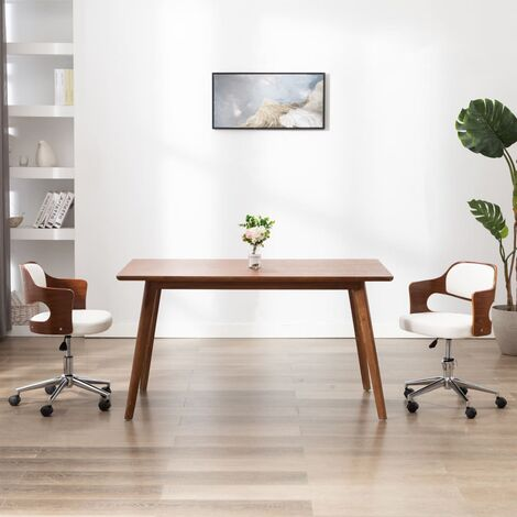 Chaise pivotante à dîner Blanc Bois courbé et similicuir