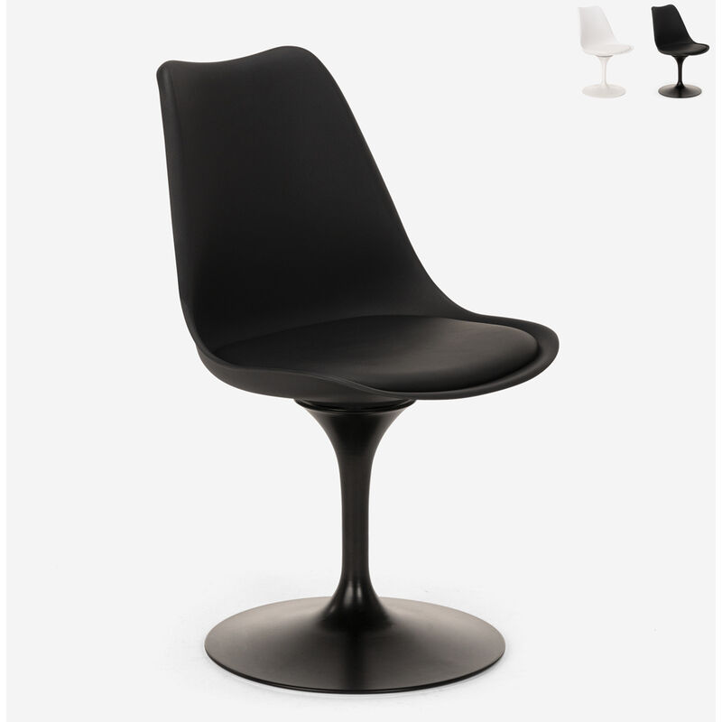 Chaise pivotante au design Tulip coussin salon bureau restaurant Lupas | Noir