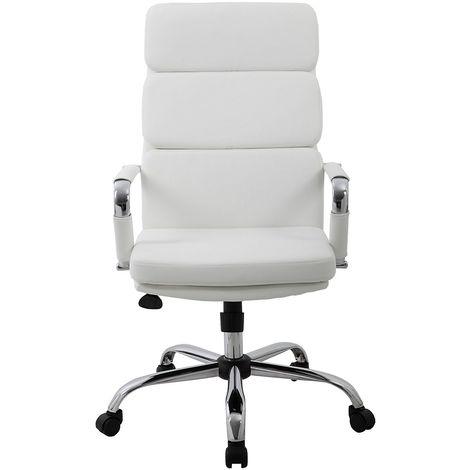 Chaise pivotante de bureau Ava - piétement chromé et habillage similicuir, blanc
