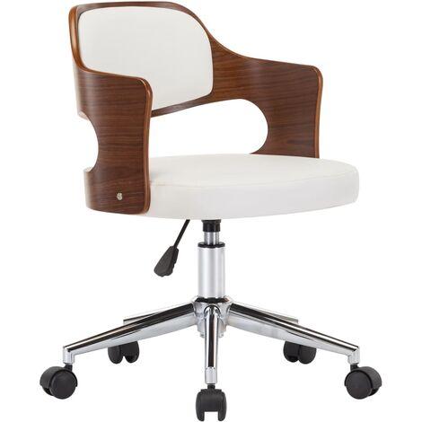 Chaise pivotante de bureau Blanc Bois courbé et similicuir