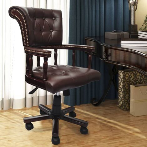 Chaise pivotante de bureau Chesterfield Marron