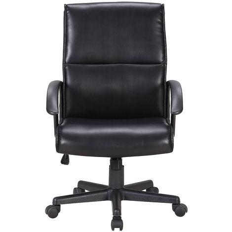 Chaise pivotante de bureau Lyon - habillage cuir et accoudoirs, noir - Coloris habillage: noir