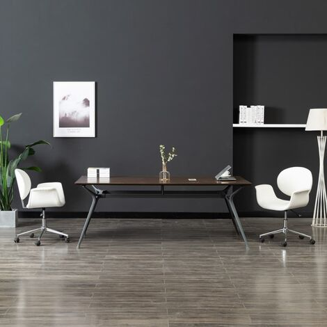 Chaise pivotante de salle à manger Blanc Similicuir