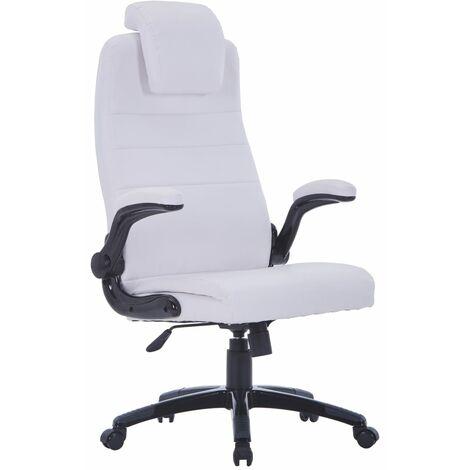 Chaise pivotante réglable avec accoudoir en cuir artificiel Blanc