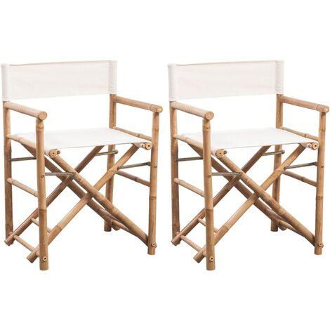 Chaise pliable 2 pcs Bambou et toile
