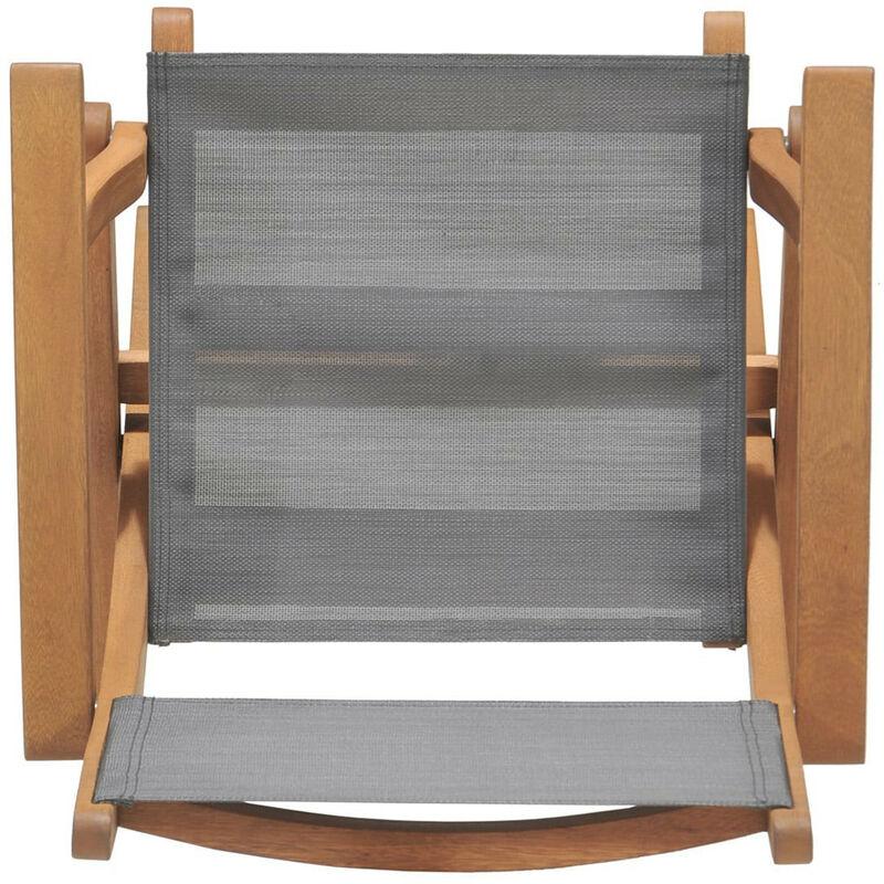 Chaise Pliable Chillvert Avec Bras . Textilene et Bois Eucalyptus 60.65 x 54.00 x 93.20 cm