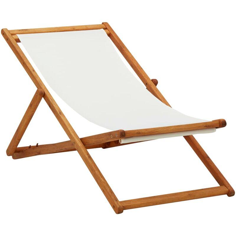 Chaise pliable de plage Bois d'eucalyptus et tissu Blanc crème