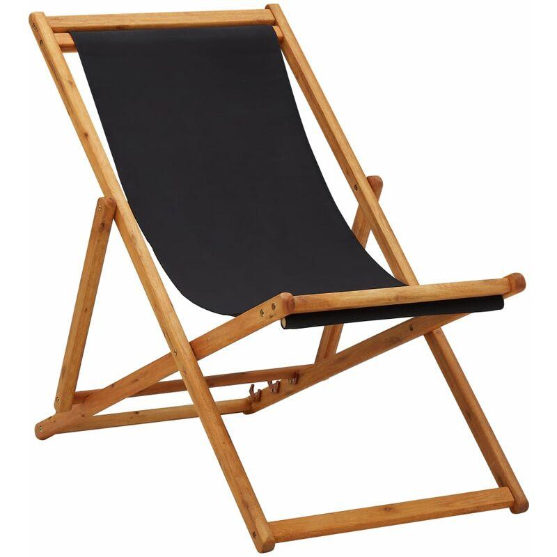 Youthup - Chaise pliable de plage Bois d'eucalyptus et tissu Noir