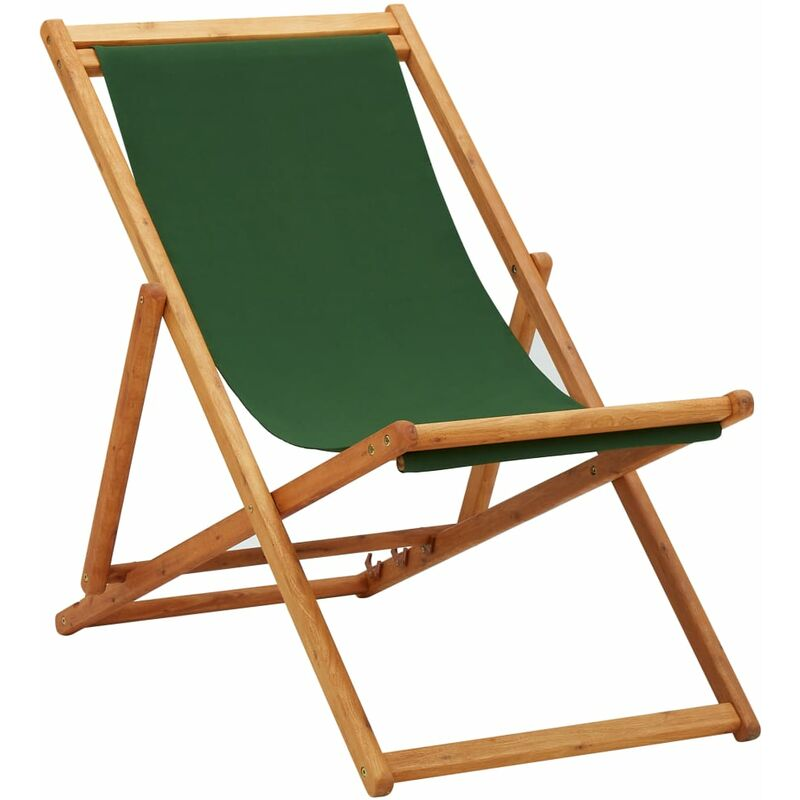 Youthup - Chaise pliable de plage Bois d'eucalyptus et tissu Vert