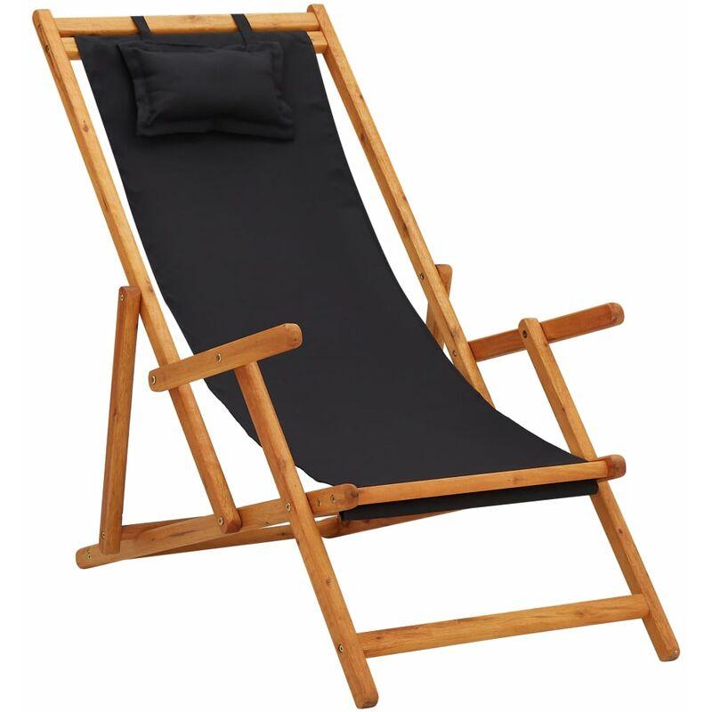 Youthup - Chaise pliable de plage Bois d'eucalyptus solide et tissu Noir