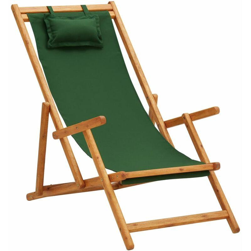 Youthup - Chaise pliable de plage Bois d'eucalyptus solide et tissu Vert