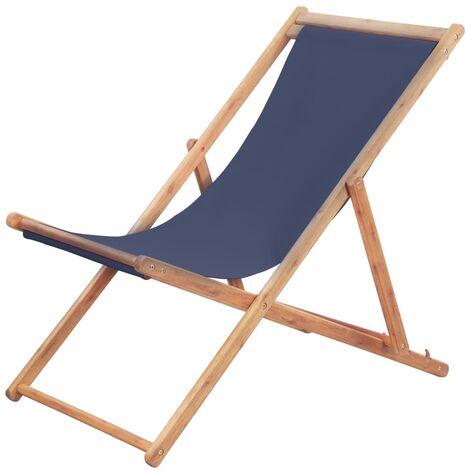 Chaise pliable de plage Tissu et cadre en bois Bleu