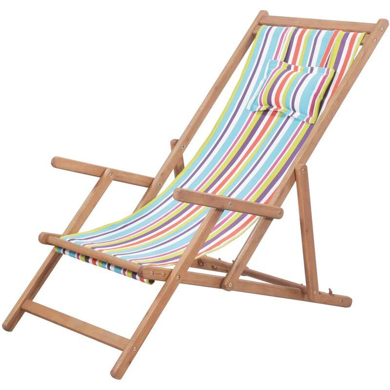 Pliable De Chaise Plage Multicolore Et Tissu Bois Cadre En T13lFKJc