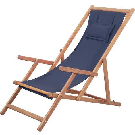 Chaise pliable de plage Transat de jardin Bain de soleil Tissu et cadre en bois Bleu