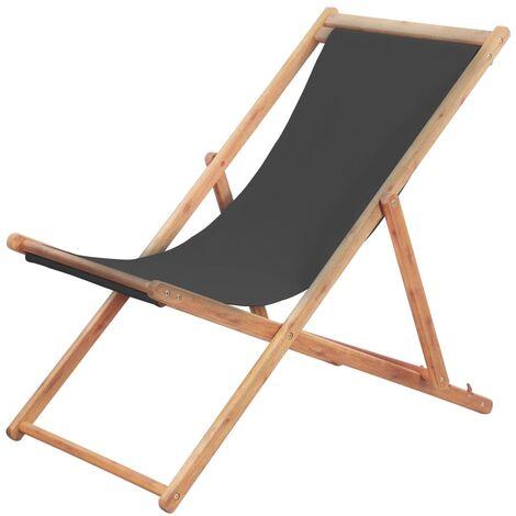 Chaise pliable de plage Transat de jardin Bain de soleil Tissu et cadre en bois Gris