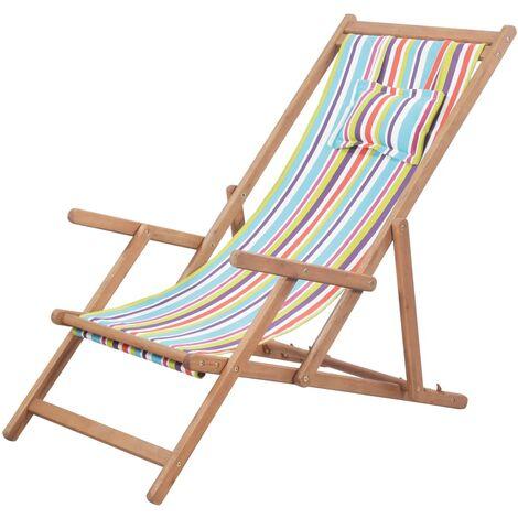 Chaise pliable de plage Transat de jardin Bain de soleil Tissu et cadre en bois Multicolore