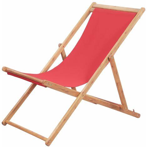 Chaise pliable de plage Transat de jardin Bain de soleil Tissu et cadre en bois Rouge