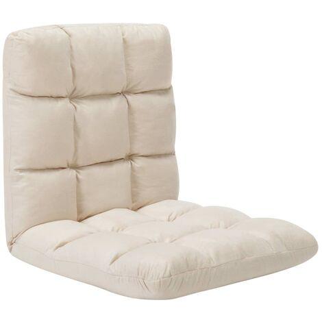 Chaise pliable de sol Crème Microfibre