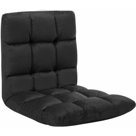 Chaise pliable de sol Noir Microfibre