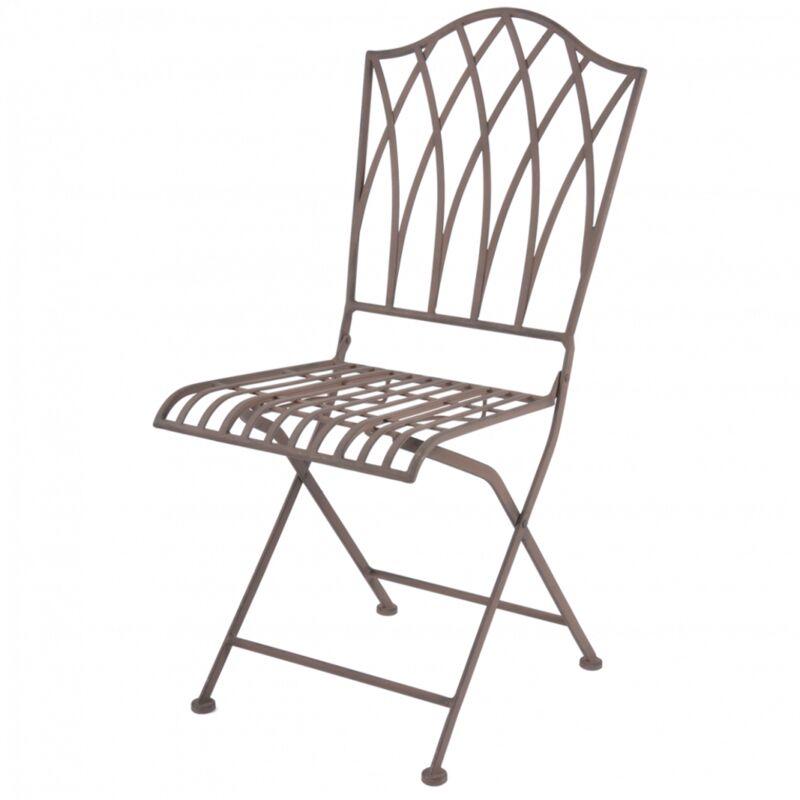Chaise pliable en métal - H 91,8 cm - Marron - Livraison gratuite