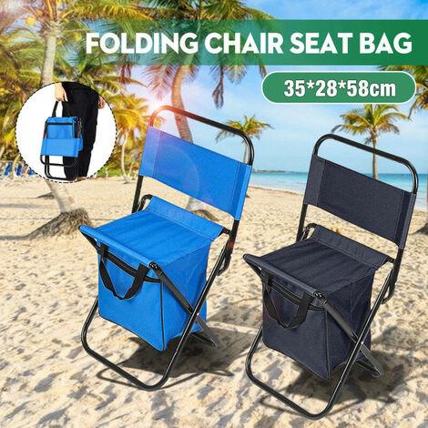 Chaise pliable portable siège sac tabouret 600D Oxford tissu compact léger avec dossier pêche voyage en plein air randonnée camping plage pique-nique barbecue multifonction bleu bleu Style 2