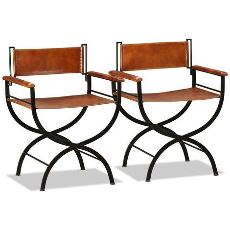 Chaise pliante 2 pcs Cuir veritable 59x48x77 cm Noir et marron