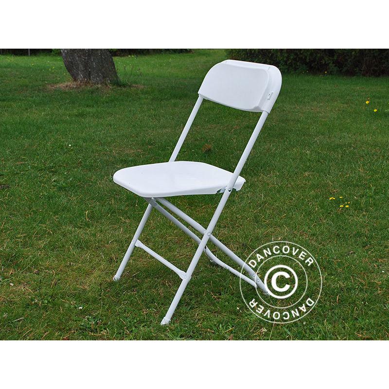 Chaise pliante 44x44x80cm, Blanc, 24 pièces