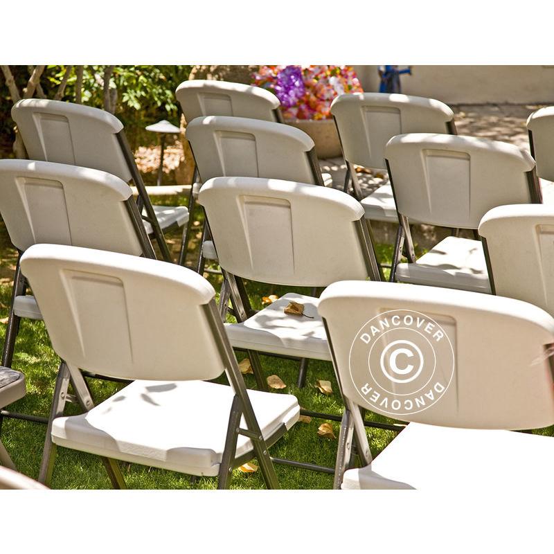 Chaise pliante 48x43x89cm, Gris clair/Blanc, 24 pièces
