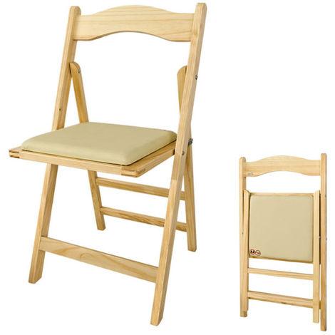 Chaise Pliante Avec Assise Rembourree Pliable Pour Cuisine Bureau Salon En Bois Naturel Du