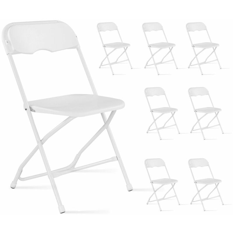 Chaise pliante blanc Lot de 8