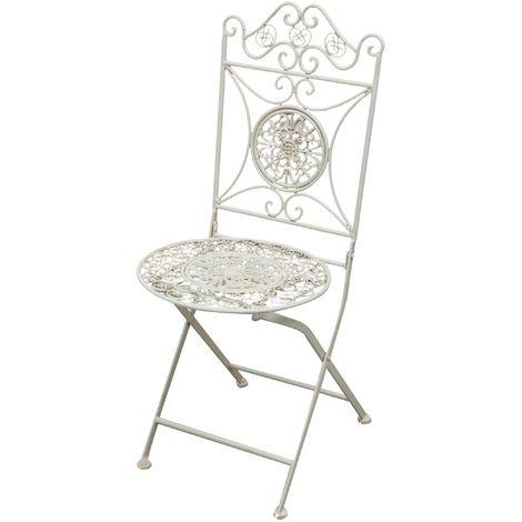 Chaise pliante complet de salle à manger de jardin d'extérieur en fer forgé finition blanc antique diam.39x96 cm