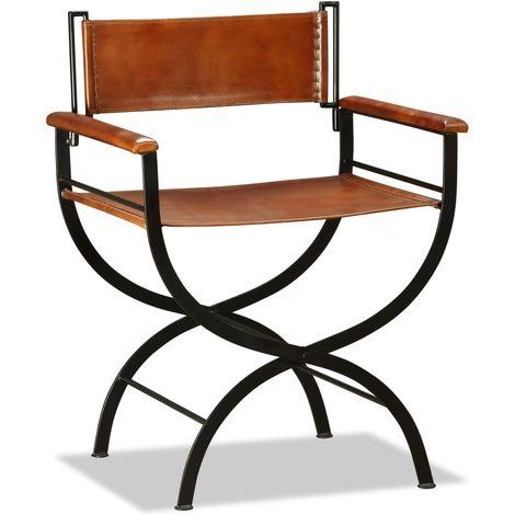 Chaise pliante Cuir veritable 59 x 48 x 77 cm Noir et marron