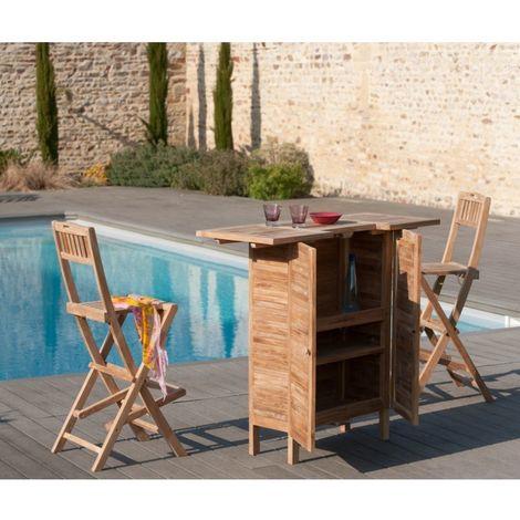 Chaise pliante de bar en bois teck grade A - Marron