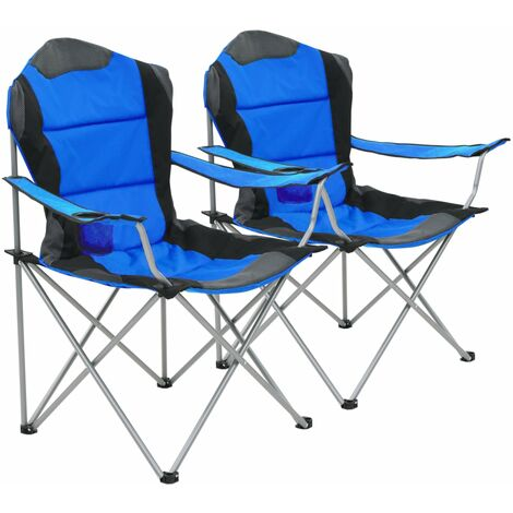 Chaise pliante de camping 2 pcs 96 x 60 x 102 cm Bleu 44380