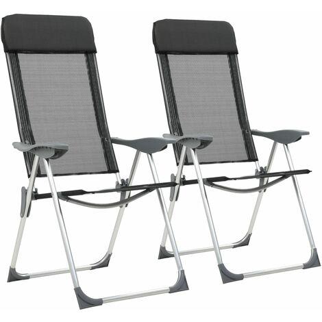 2 Pliante Camping Noir 44305 De Pcs Aluminium Chaise qpUGSMVz