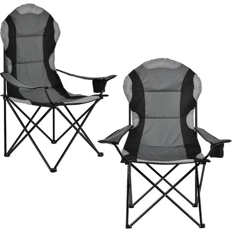 Chaise pliante de camping en kit de 2 noir gris