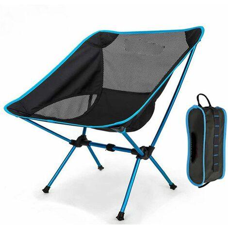 Chaise pliante de camping légère portable siège de plage tabouret de pêche chaise de loisirs charge maximale 150 kg randonnée voyage (bleu ciel)