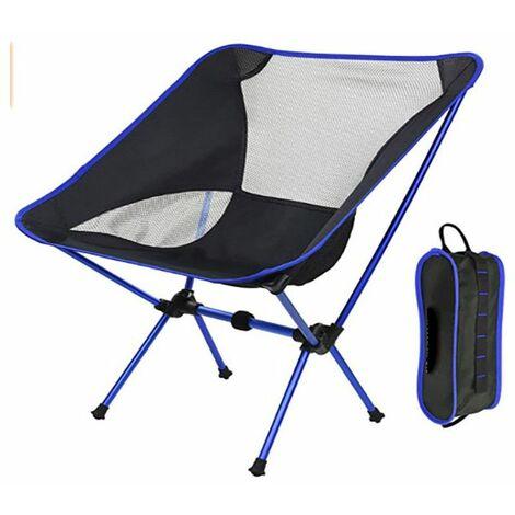 Chaise pliante de camping légère portable siège de plage tabouret de pêche chaise de loisirs charge maximale 150 kg voyage de randonnée (bleu)